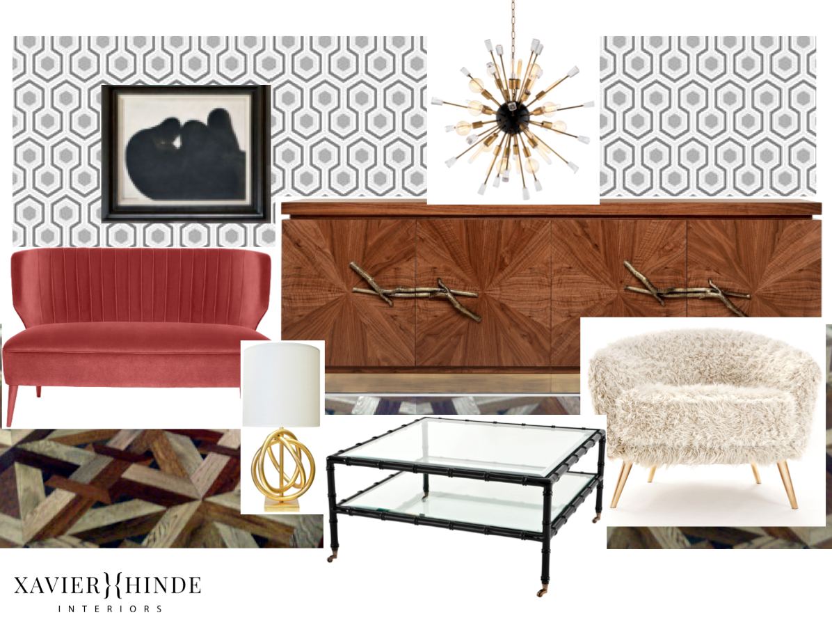 elizabeth bay art deco apartment kelly wearstler eichholtz parquetry wallpaper munni sputnik light sydney australia xavier hinde interiors interior design black bamboo coffee table contemporrary vintage